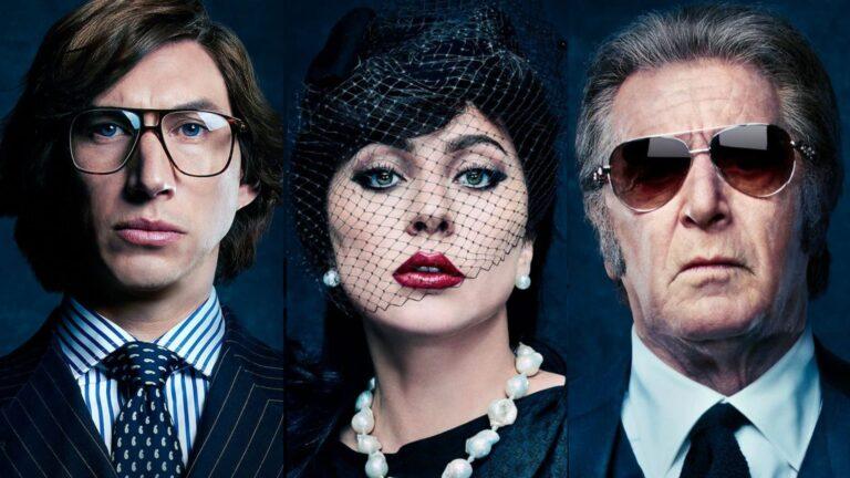 Lady Gaga, Adam Driver y Al Pacino en la película House of Gucci